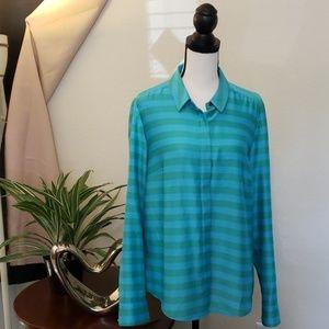Loft long sleeve green & blue striped top